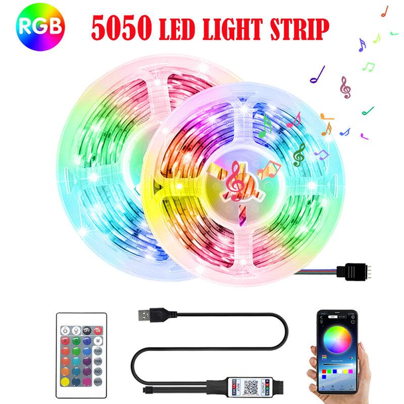블루투스 5050 LED 스트립 라이트 RGB 적외선 원격 컨트롤러 USB 5V 유연한 리본 램프 다이오드 백라이트 PC APP 제어