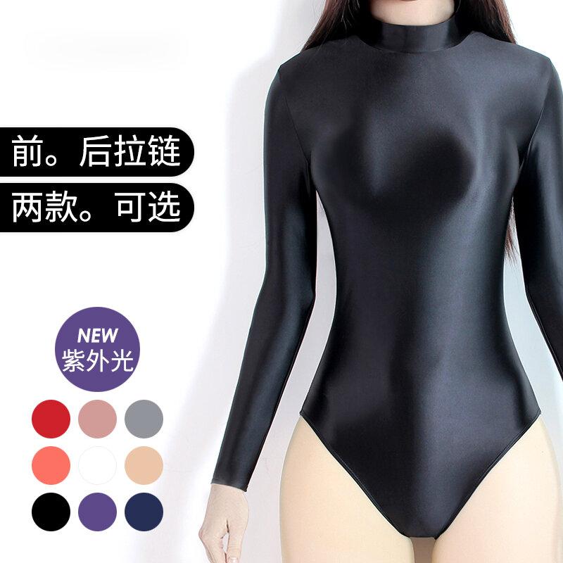 DROZENO 섹시한 새틴 광택 바디 수트 긴 소매 하이넥 지퍼 수영복 단색 섹시한 스타킹