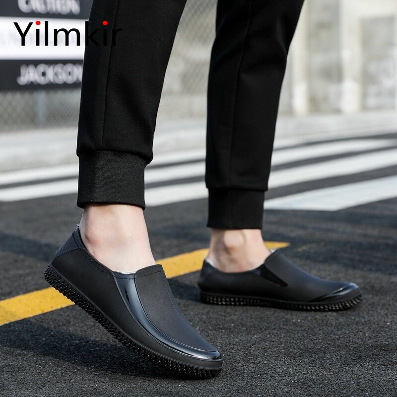 Męskie popularne niskie buty przeciwdeszczowe moda antypoślizgowe wszystkie mecze obuwie klasyczne krótkie męskie kalosze lekkie gumowe buty