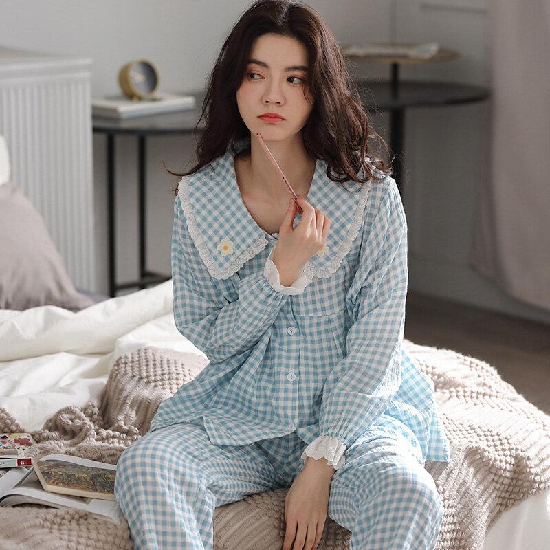 Pijamas de estilo coreano para mujer, ropa de dormir fresca de gasa de doble capa de algodón a cuadros con flores de manga larga, primavera y otoño