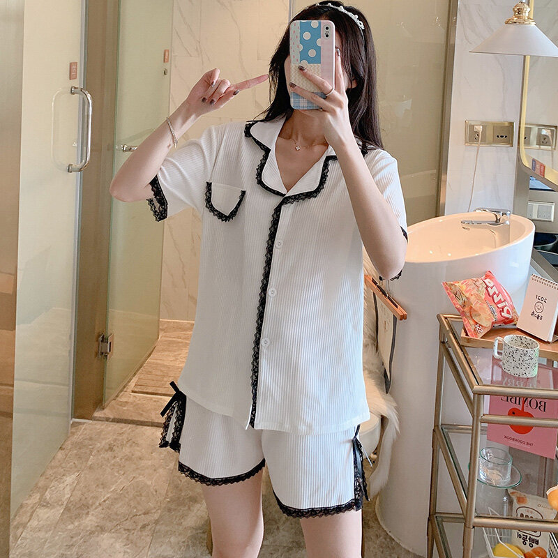 Short Sleeve Cardigan Pajamas Women's Summer Pure Cotton Cute Lace White Suit Casual Thin Korean Style Spring and Autumn