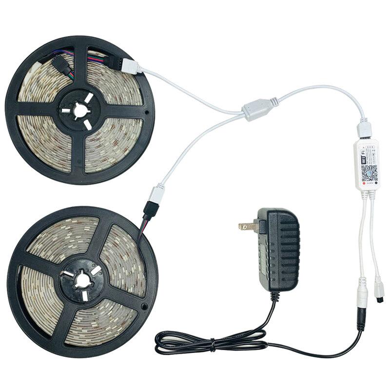 Tira de luces LED RGB IR 5050, cinta de lámpara Flexible impermeable con cinta de diodo, para fiesta de cumpleaños, 10M, Bluetooth