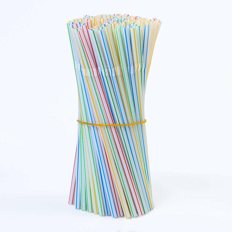 200Pcs ทิ้งพลาสติกหลอดดูดดื่มร้านค้าบ้านหลอดนมชา Multi สีสำหรับงานปาร์ตี้/บาร์/เครื่องดื่มร้านค้...