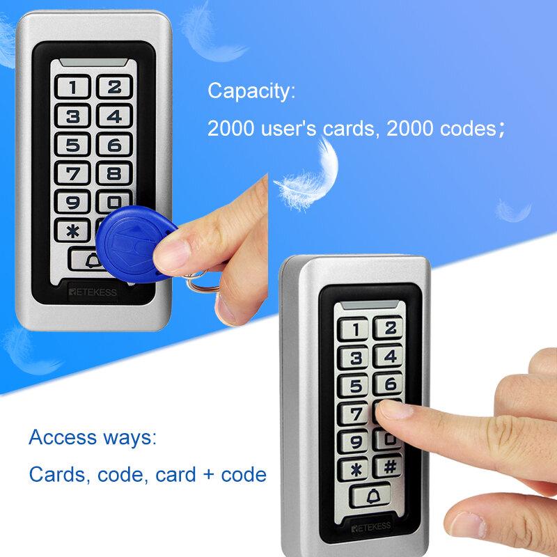 Retekess T-AC03 Tastiera Sistema di Controllo Accessi RFID Di Prossimità Carta Standalone 2000 Gli Utenti di Porta di Controllo di Accesso Impermeabile Della Cassa del Metallo