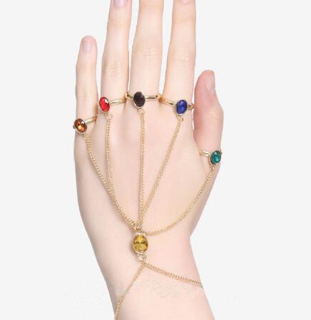 لانهائي الطاقة قفاز القفاز أساور أساور جوهرة ستون Pulsera للنساء مجوهرات للبنات هدية فنجر سلسلة