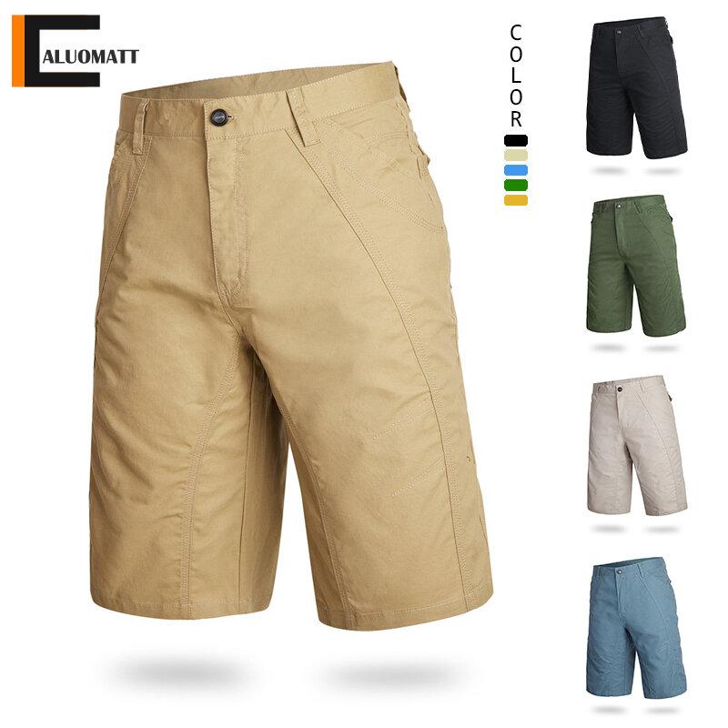 Pantalones Cortos De Carga Para Hombre Pantalon Informal Tactico Militar Caqui Bermudas Sueltas De Algodon Solido Pantalon Masculino De Carga Novedad De Verano De 2021 Pantalones Cortos