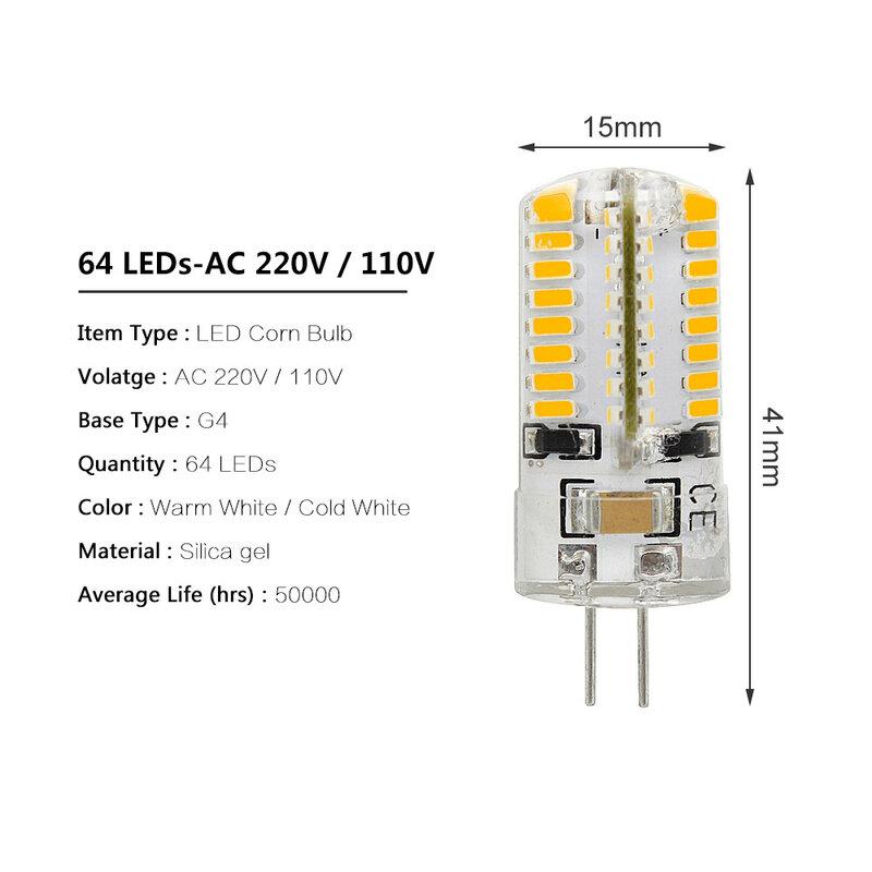 ANBLUB-G4 LED لمبة سيليكون ، 12V/ AC 220V SMD3014 24/32/48/64/104 LEDs استبدال 10W 30W 50W ضوء هالوجين