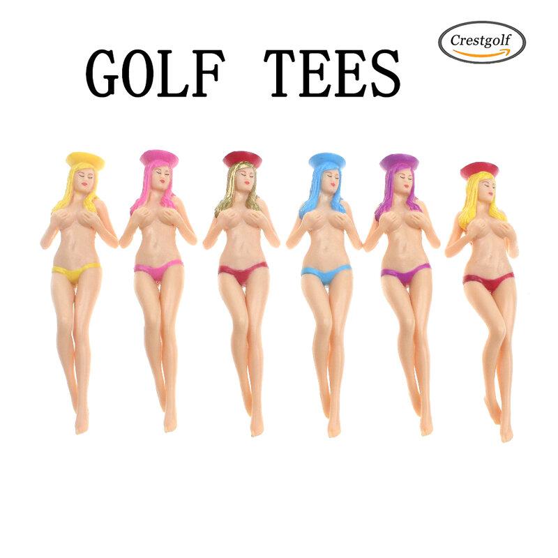 CRESTGOlf Style 6 pz/pacco dimensioni 75mm(2.95 pollici) Sexy Bikini Lady Golf Tees regalo più nuovo Design plastica Golf Tees accessori da Golf