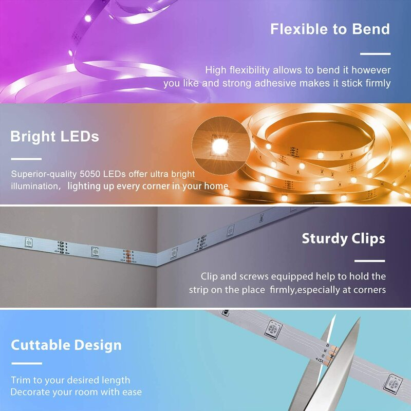 RGB LED 스트립 라이트 리본 유연한 다이오드 SMD 침실 장식 Luces led 램프 문자열 원격 Wifi 호환 Alexa 컨트롤러