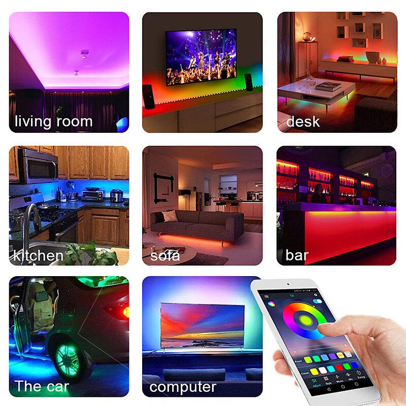 Led 스트립 조명 적외선 블루투스 WIFI RGB 5050 2835 5m 10m 15m 20m 25m 30m DC12V 유연한 리본 Fita Led 라이트 스트립