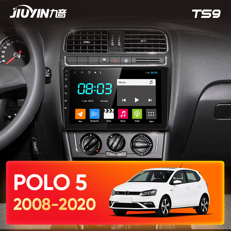 JIUYIN Type C 자동차 라디오 멀티미디어 비디오 플레이어 네비게이션 GPS For Volkswagen POLO 5 2008 - 2020 Android 10 No 2din 2 din