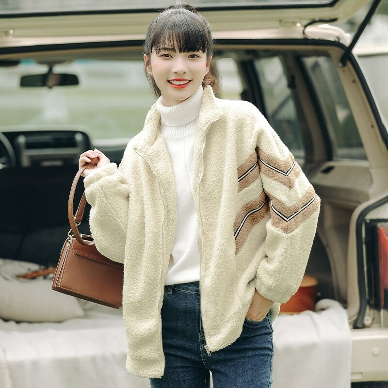 Chic Khaki Autumn and Winter 2020 New Lamb Wool Thickened Cotton Padded Coat Students' Loose-Fitting Coat Women's Mixed Color