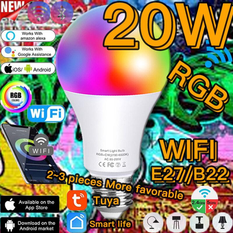 Tuya WiFi 스마트 LED 전구 RGBW 20W 밝기 조절 다채로운 변경 전구 Wifi Alexa Google 홈 또는 원격 제어 전구 램프와 함께 작동