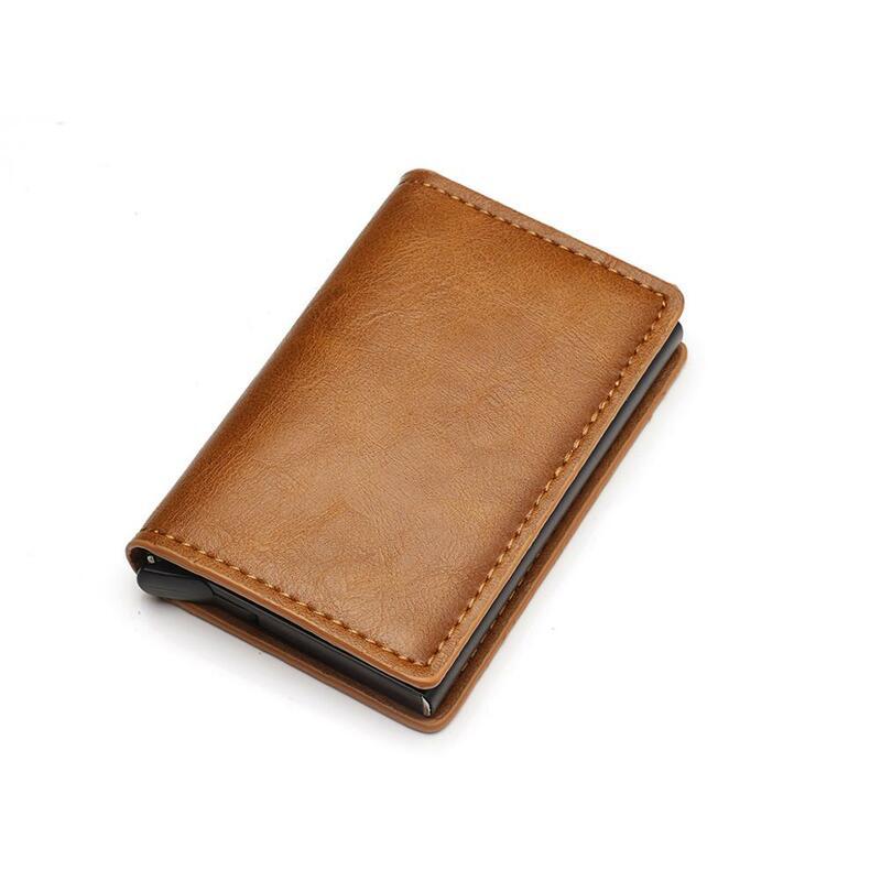 2020 RFID 지갑 미친 말 PU 가죽 알루미늄 상자 자동으로 신용 카드 소지자 남자와 여자 금속 패션 카드를 팝업