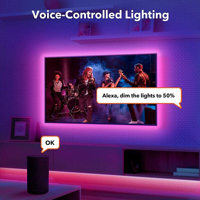 Striscia luminosa a LED RGB 5050/2835 SMD DC 12V lavora con Alexa e Google Assistant per la lampada della retroilluminazione della decorazione della camera da letto del Computer TV