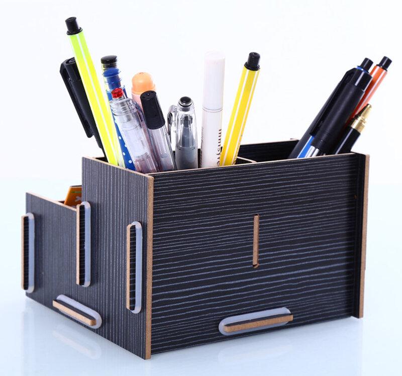 Fai da te scuola scrivania penna matite organizzatore custodia scatola di carta velina matita da tavolo supporto in legno forniture di cancelleria per ufficio a casa