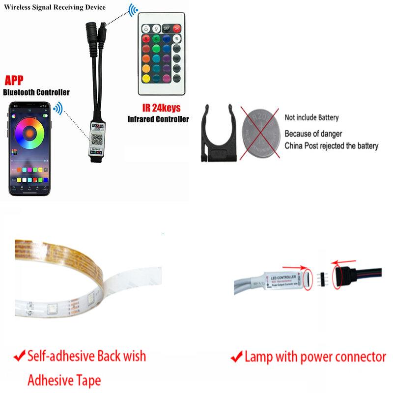 Tira de luces LED con Bluetooth y WIFI, cinta Flexible con Control IR, RGB5050, 2835, 5 m10m20m, Fondo de diodos, iluminación resistente al agua, DC12V