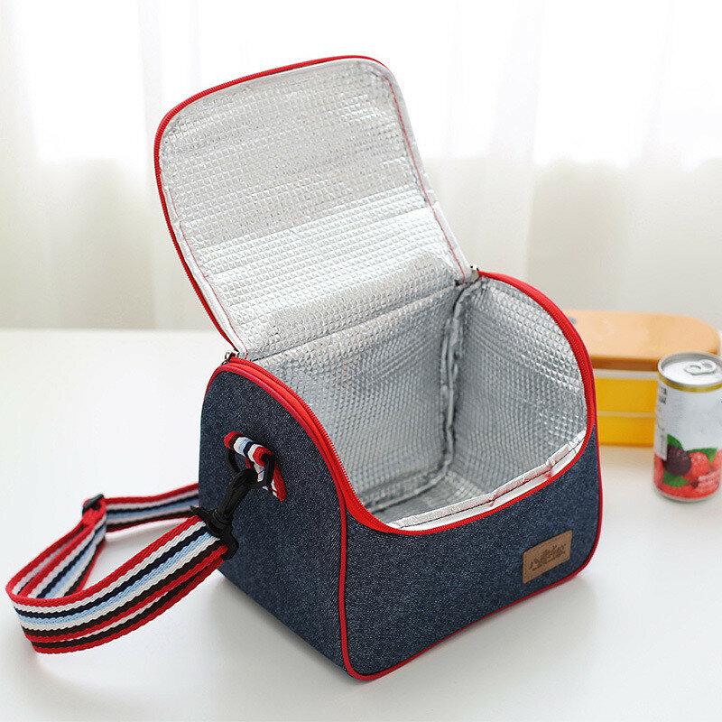 데님 점심 가방 키즈 벤토 박스 절연 팩 피크닉 음료 식품 열 아이스 쿨러 레저 액세서리 용품 제품