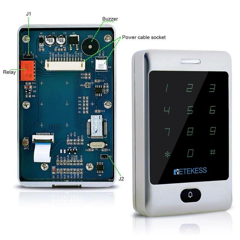 Retekess-T-AC01 de Control de acceso RFID, sistema de Control de acceso de puerta, impermeable, 125KHZ, carcasa de Metal, retroiluminación