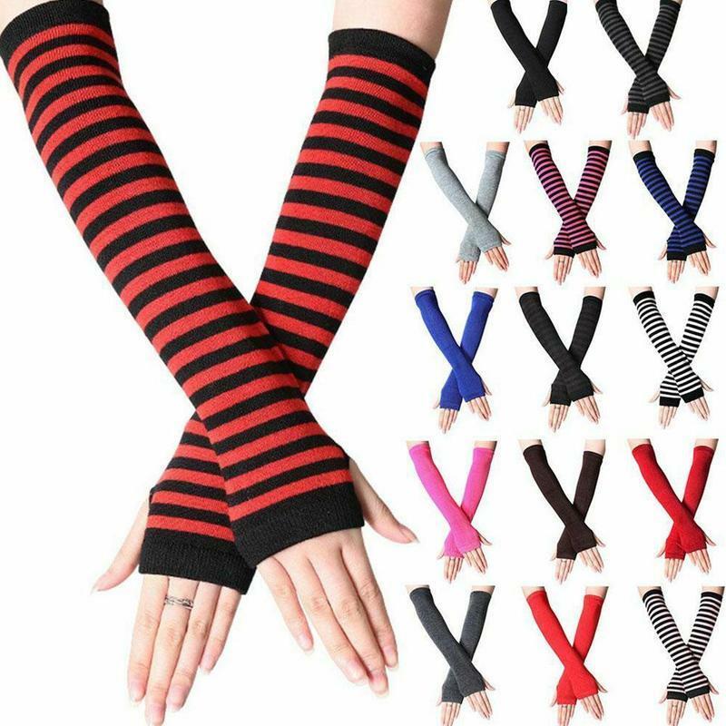 Guantes de punto elásticos suaves para mujer, sin dedos, medio dedo, mangas hasta la muñeca, cálidos, largos, de invierno, 1 par