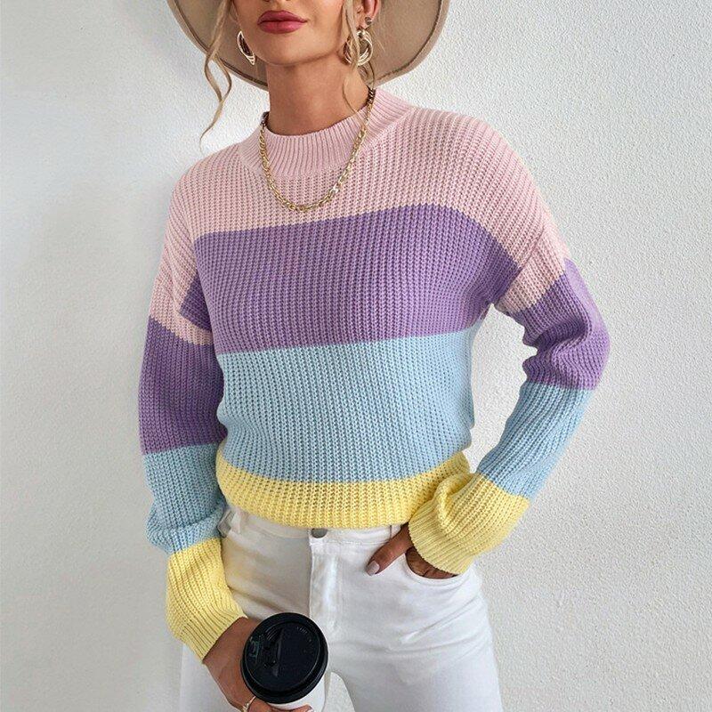 Kwiat Jie z długim rękawem luźny, dzianinowy swetry damskie 2021 Streetwear jesienne zimowe bluzki damskie sweter na co dzień kobieta