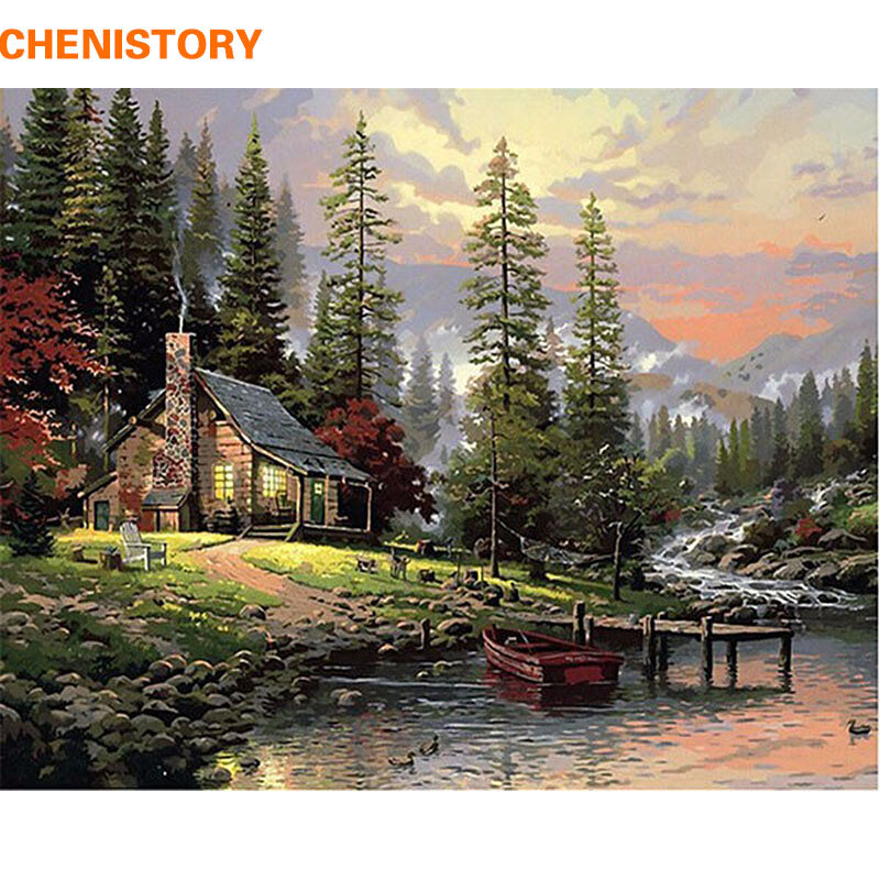 CHENISTORY-لوحة زيتية مرسومة يدويًا بالأرقام مع منظر طبيعي ، لوحة جدارية فنية فريدة 40 × 50 سنتيمتر