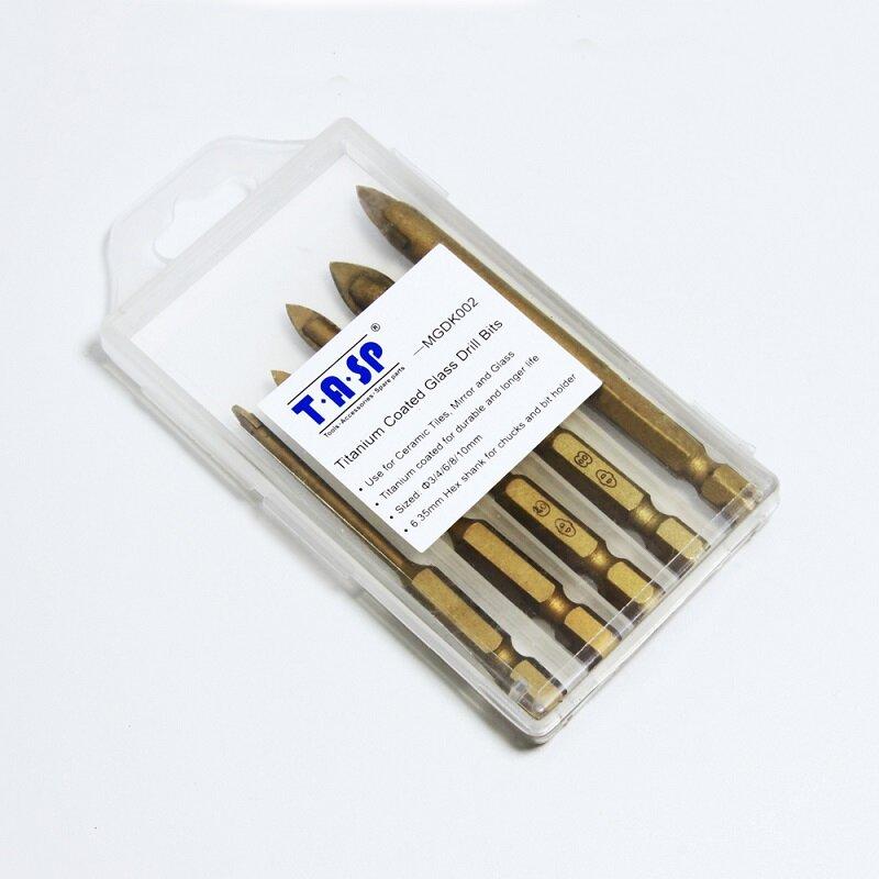 """TASP 5 stücke Glas Bohrer Set Hartmetall Keramik Fliesen Cutter 1/4 """"Hex Schaft 3/4/6/8/10mm Power Werkzeuge Zubehör"""