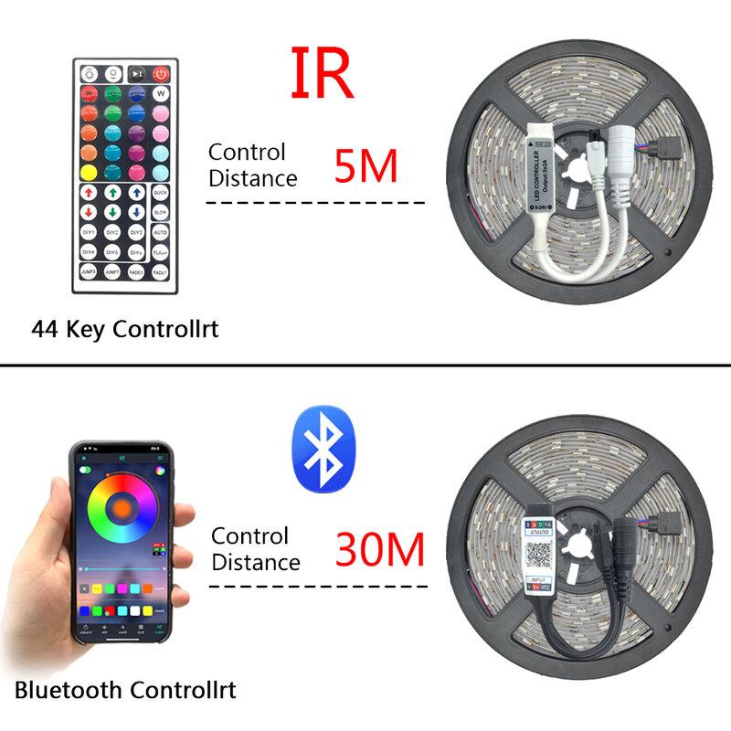 Tira de Luces LED RGB 5050/2835 SMD, cinta Flexible con Bluetooth, 12V, para TV, ordenador, dormitorio, decoración, lámpara de luz de fondo