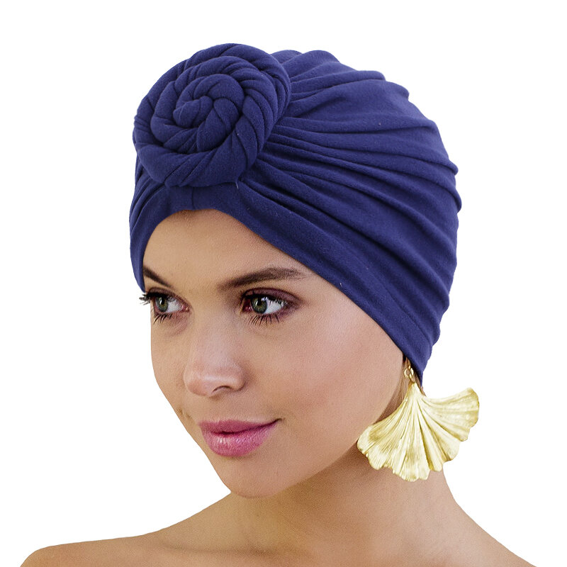 New Silky Linning Knotted Turban Doughnut Headscarf Soild Color With Elastic Ladies Chemo Cap Hair Accessories India Hat