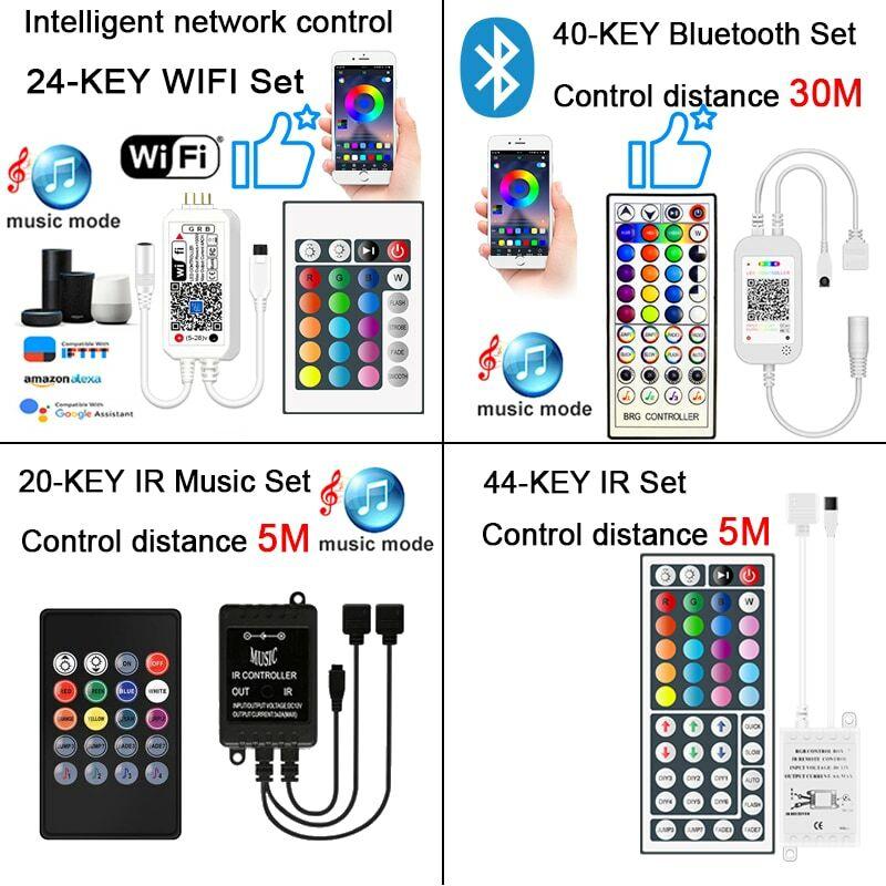 Strisce LED 20M Controller WIFI Bluetooth nastro flessibile RGB IP65 SMD 2835/5050 12V decorazione soggiorno strisce Led