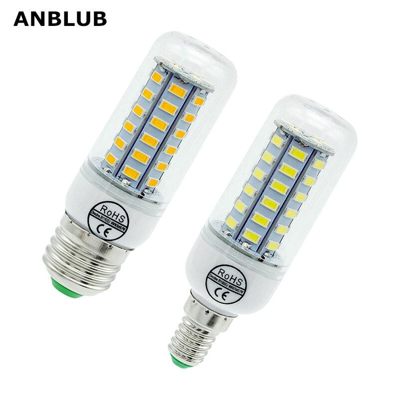 مصباح ANBLUB E27 LED ، لمبة كوز الذرة E14 ، SMD 5730 ، 220 فولت ، 24 ، 36 ، 48 ، 56 ، 69 ، 72LED ، مصباح شمعة للثريا ، للإضاءة المنزلية والديكور