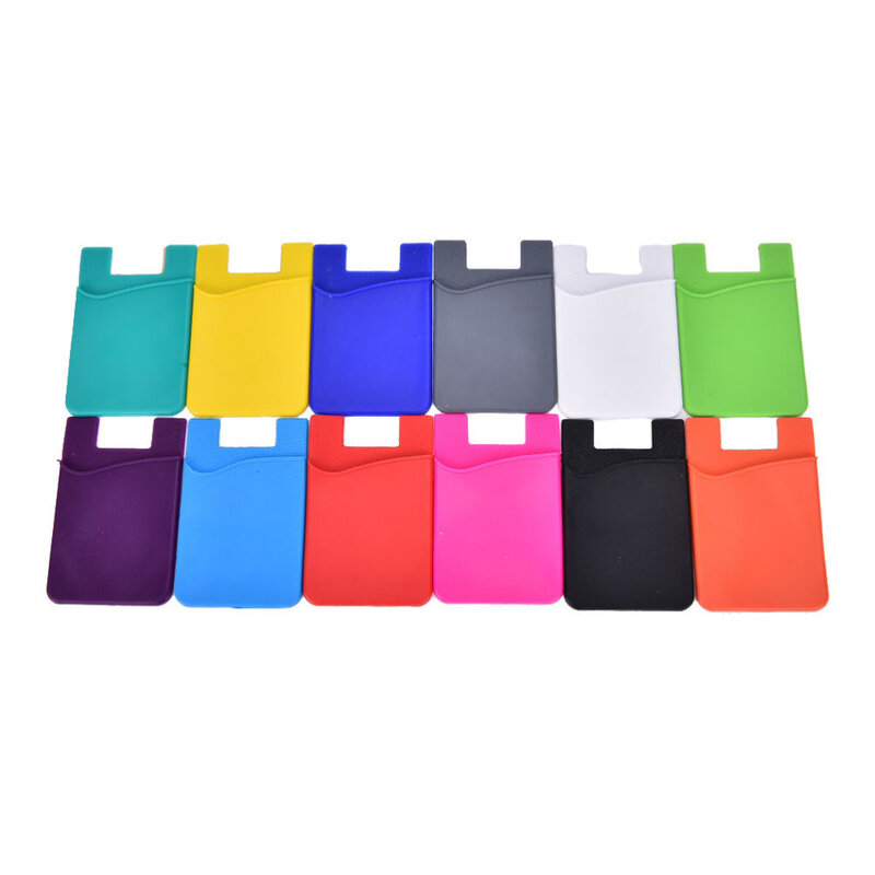 패션 접착제 스티커 다시 커버 카드 홀더 케이스 파우치 휴대 전화에 대 한 다채로운 카드 홀더 1PCS