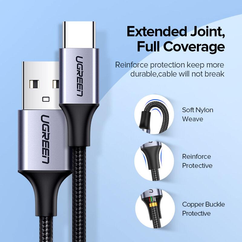 UGREEN USB C สำหรับ Xiaomi Redmi หมายเหตุ10 USB ประเภท C 3A ชาร์จโทรศัพท์ได้อย่างรวดเร็วสำหรับ Huawei P40 pro ประเภท C สาย USB C