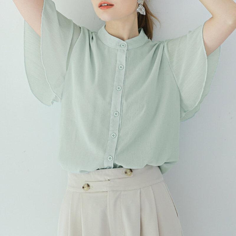 2021 NOVEDAD DE VERANO suelto-Encuentro de Stand-up Collar de Color sólido de loto de la blusa de la gasa de la manga de estilo japonés de moda Casual