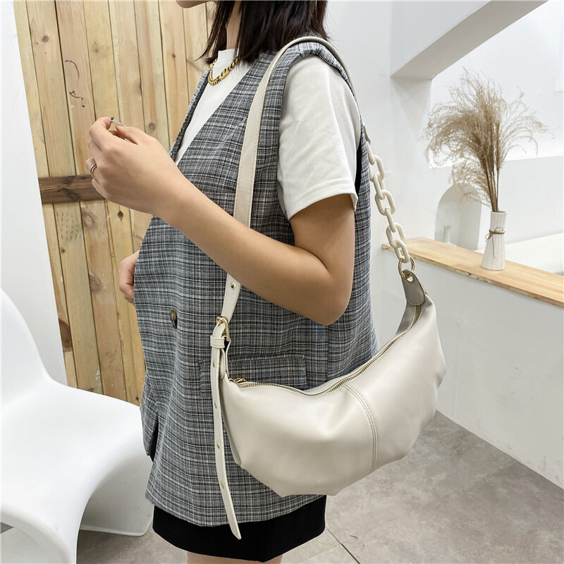 Women High Quality Soft Leather Shoulder Crossbody Bags for Women 2021 Vintage Solid Color Chains Bag Female Sac A Main New