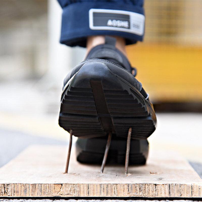 Chaussures de sécurité pour hommes, légères et confortables, avec embout en acier antidérapant, résistantes à l'usure, respirantes