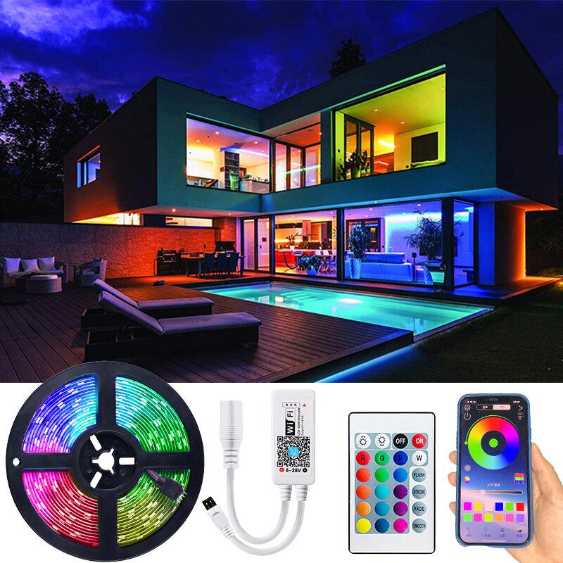 Tira de luz Led Flexible RGB lámpara Led Luces cinta de DC12V SMD 5050 RGB IR Bluetooth control LED WIFI tiras de Luces