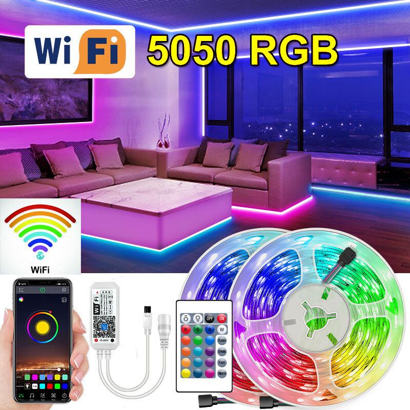 Tira de Luces Led RGB con Wifi 5050, cinta de diodos con USB, adaptador Bluetooth para pantalla de escritorio, TV, retroiluminación