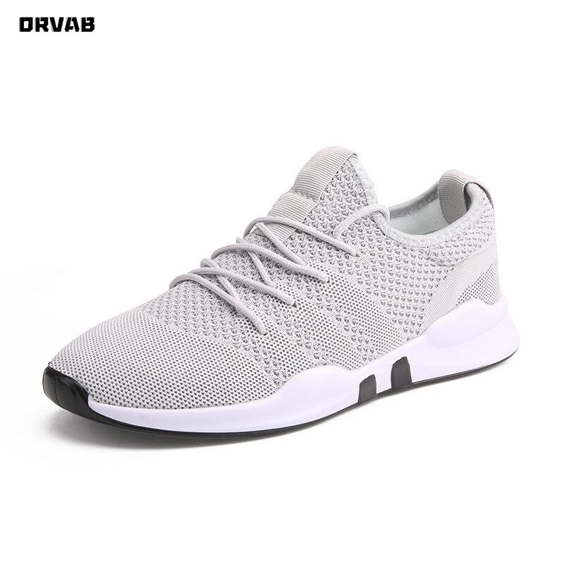 Baskets légères et respirantes pour hommes, chaussures d'été de marque à la mode, chaussures décontractées, gris, blanc, noir, rouge, tennis, à lacets