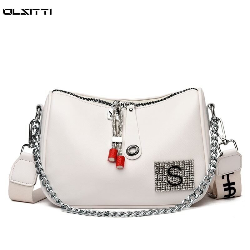 High Quality Retro Waterproof Leather Shoulder Messenger Bags for Women 2021 Casual Concise Chain Messenger Bag Sac Epaule