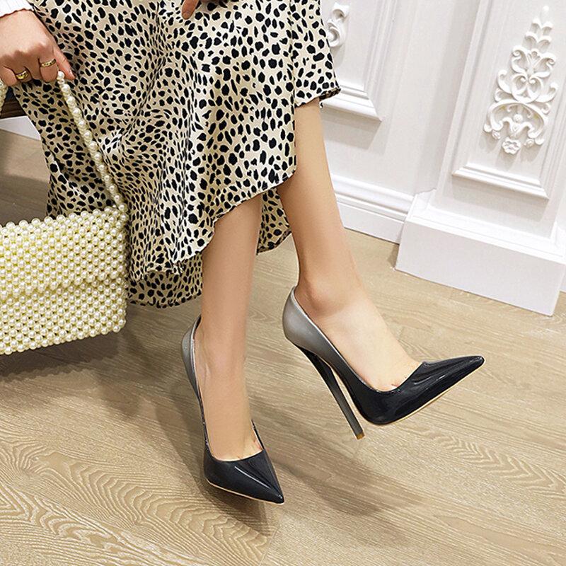 Zapatos de tacón alto y delgado para mujer, calzado Sexy, a la moda, puntiagudos, rojo y gris, para fiesta o boda, de talla grande