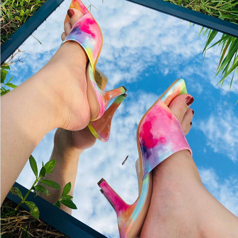 2021 Women Rainbow Summer Square Heels Fashion Slippers Female Sexy Party Casual New Shoes Ladies Outside Footwear Plus Size 42