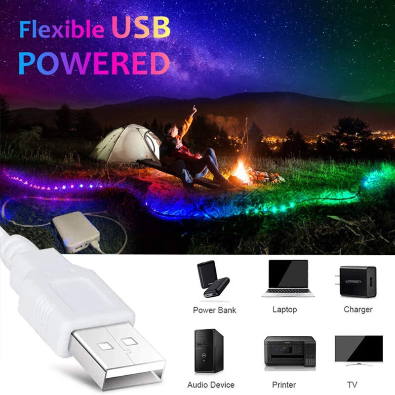 LED Strip ไฟ RGB 2835 Fita USB 5V 3.2-16.4ฟุตสำหรับ Para Habitacion ห้องนอน TV คอมพิวเตอร์พื้นหลังแสง Luces
