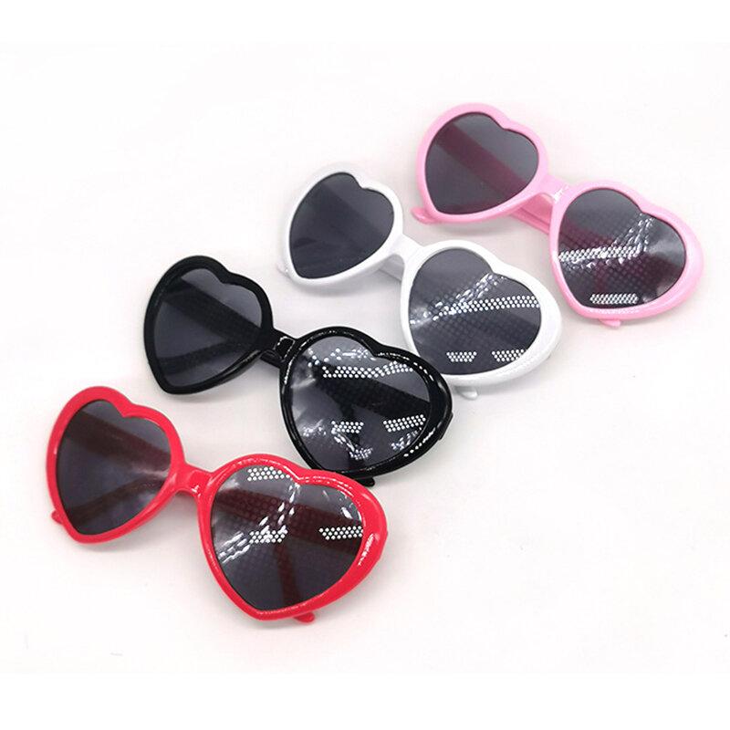 Gafas de sol con forma de corazón para mujer, anteojos de sol femeninos con forma de corazón, con montura de PC, cambio de luz, de colores, rojo, rosa, mágico