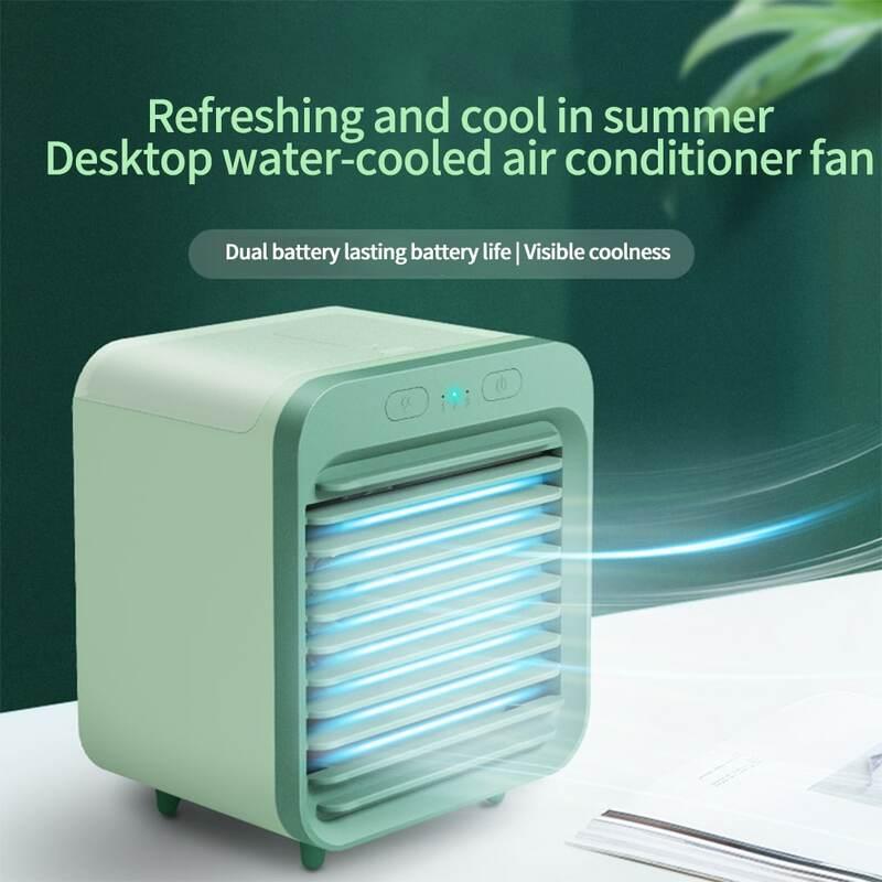 USB Schreibtisch Mini Fan Tragbare Luftkühler Lüfter Klimaanlage Licht Desktop Luftkühlung Fan Luftbefeuchter Purifier Für Büro Schlafzimmer
