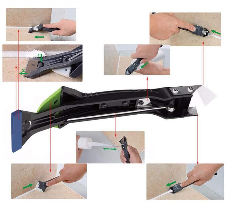 실리콘 리무버 5 in 1 스크레이퍼 키트 소프트 그라우트 키트 재봉 테이프 포함 실리콘 실란트 스크레이퍼 핸드 툴 그라우트 스크레이퍼 도구
