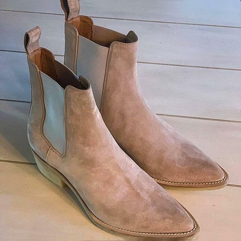 Zapatos de vestir informales a la moda para hombre, calzado de negocios hecho a mano, Beige, imitación de ante, clásico, punta estrecha, tacón bajo, botas Chelsea diarias, KU105
