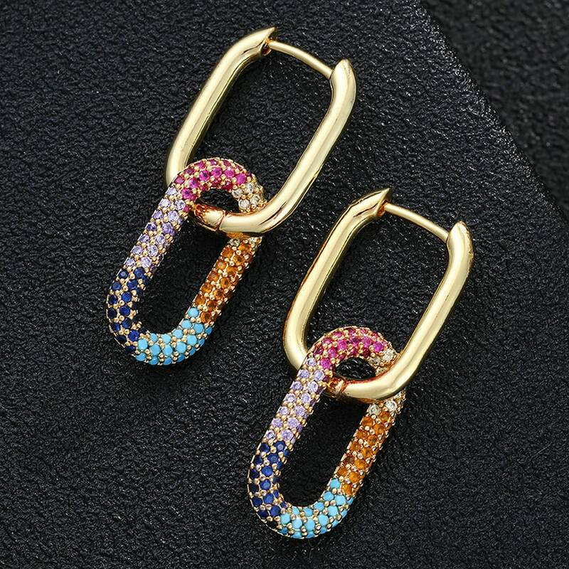 Pendientes colgantes para mujer, joyería con diseño de moda, incrustados con circonitas de alta calidad, proceso de fabricación