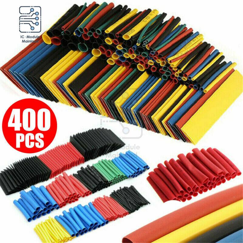 400PCS 폴리올레핀 열 수축 튜브 키트 8 크기 1-14mm 2:1 열 수축 절연 튜브 혼합 색상 랩 와이어 케이블