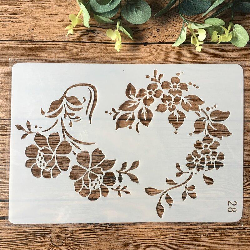 26 centimetri Foglie di Fiori FAI DA TE Stratificazione Stencil Pittura Scrapbooking Stamping Goffratura Album di Carta Modello di Scheda